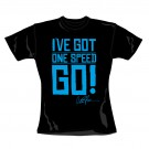 "CHARLIE SHEEN ""One Speed Go"" Official Women's Black, Cotton T-Shirt (S)"