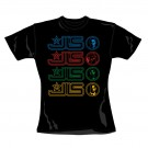 "JLS ""Multi Logo"" Official Women's 100% Cotton Black Crew Neck T-Shirt (L)"