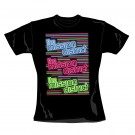 "MISSION DISTRICT ""Neon"" Official Womens Black Cotton Crew Neck T-Shirt (S)"