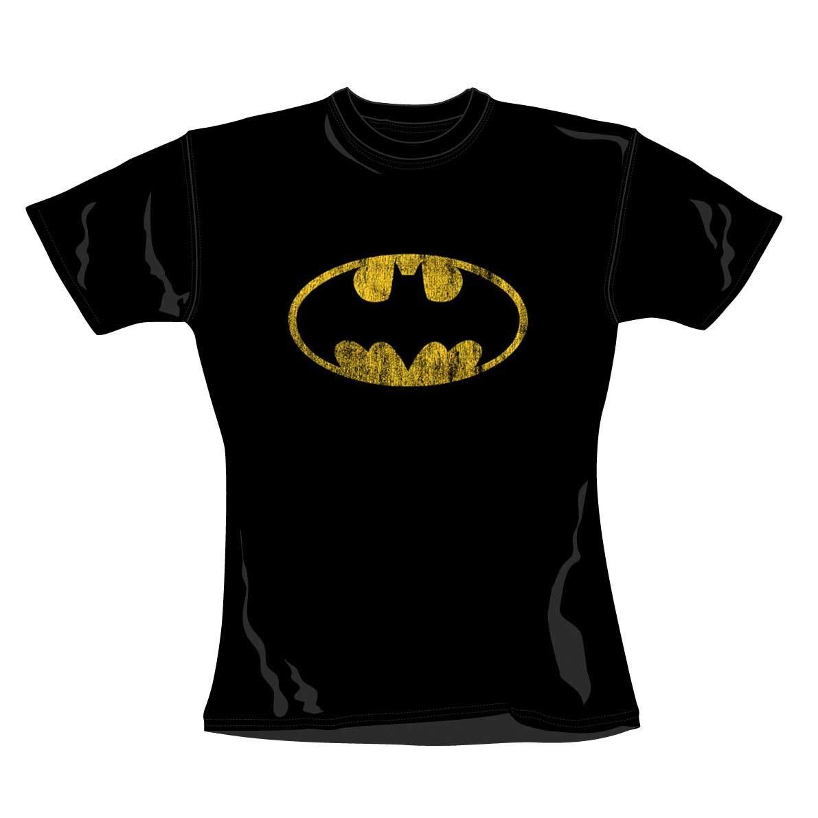 """BATMAN """"Distressed Shield"""" Womens T-Shirt (L)"""