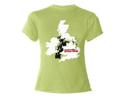"""PAUL WELLER """"Green Map"""" Official Womens T-Shirt (L)"""