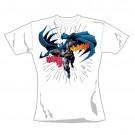 """BATMAN """"LEAPING"""" Official Womans 100% Cotton White Crew Neck T-Shirt (XL)"""