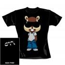 "CHIPMUNK ""Chipmunk"" Official Women's Black Cotton Crew Neck T-Shirt (S)"