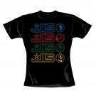 """JLS """"Multi Logo"""" Official Women's 100% Cotton Black Crew Neck T-Shirt (L)"""
